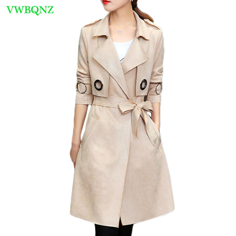 Suede Windbreaker Coat Women Spring Autumn New Korean   Trench   coats Women's Wild Khaki Casual Outerwear Bow tie Apricot Grey A665