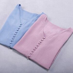 Image 4 - Blusa feminina camisa dupla camada 100% seda design simples decote em v manga longa sólida 2 cores escritório topo nova moda primavera 2019