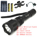 UniqueFire HS-802 Cree XM-L2 2000 lumens led hunting flashlight torch+ 4000mah 18650 battery+charger+ remote switch+gun mount