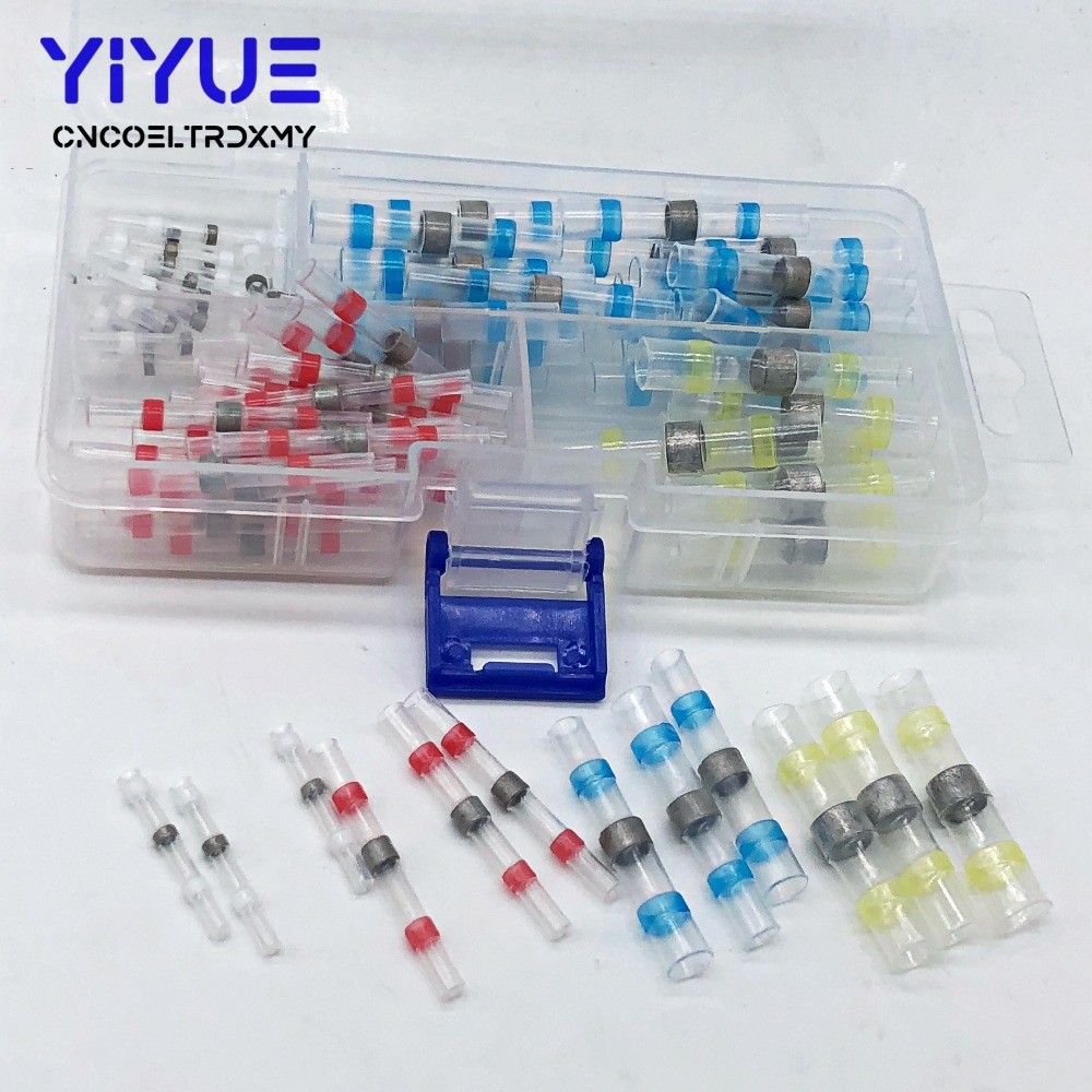 100PCS Waterproof Solder Seal Heat Shrink Butt Connectors Soldering Sleeve Wire Connector Cable Terminal Electrical