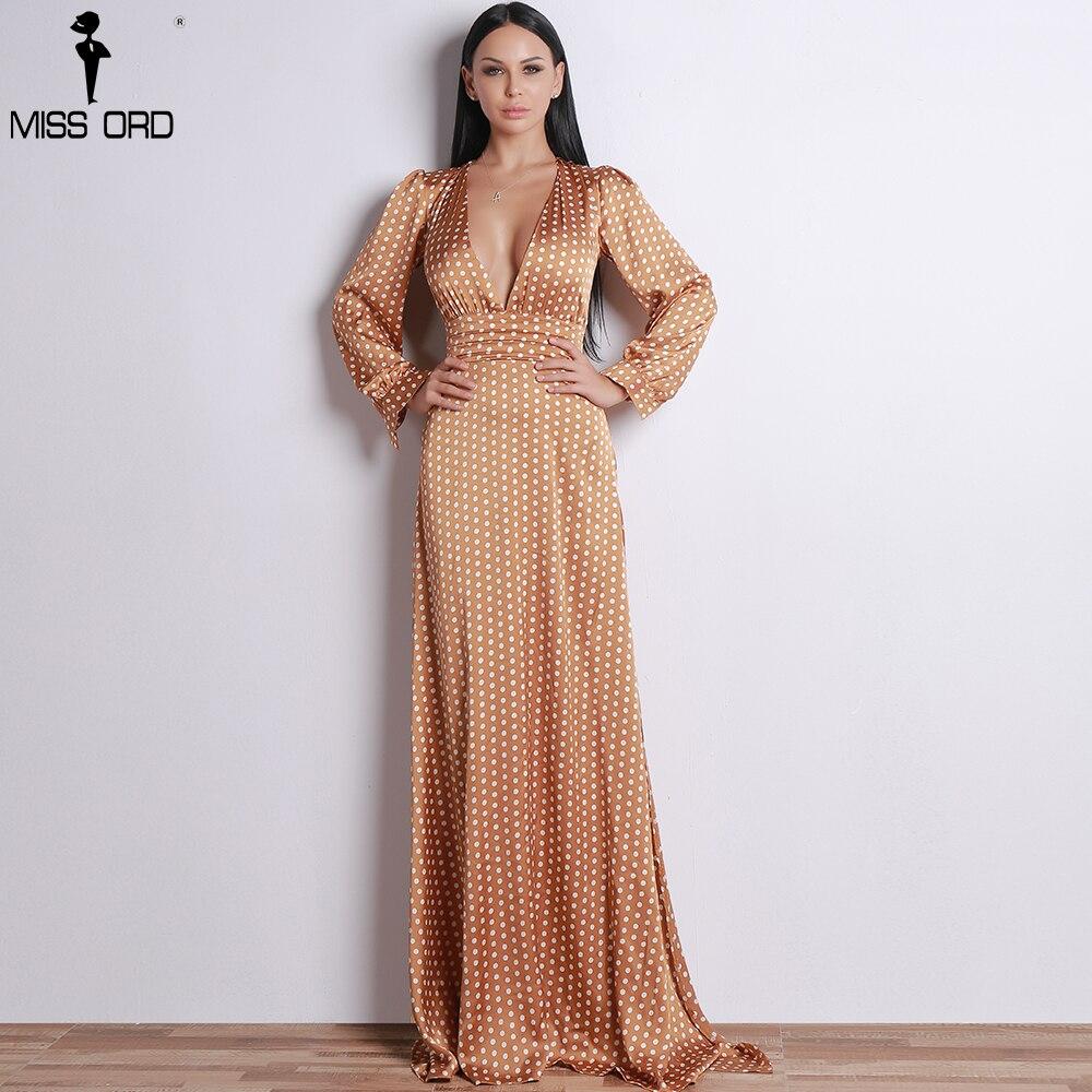 Missord 2018 Women Sexy Spring And Summer Deep-V Small Dot Elegant Floor-Length Dress FT18443