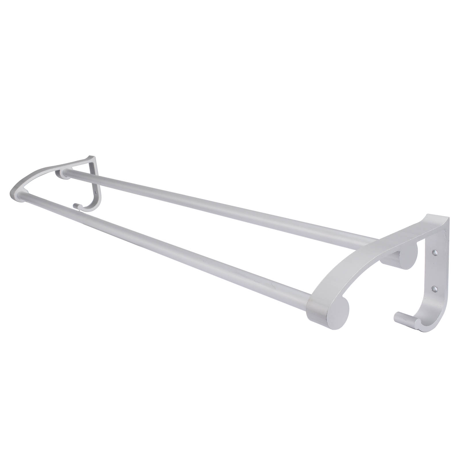 Mayitr Alloy Double Wall Mounted Towel Shelf Bathroom Towel Rail Rack Holder Hook For Bathroom Accessories nail free foldable antique brass bath towel rack active bathroom towel holder double towel shelf with hooks bathroom accessories