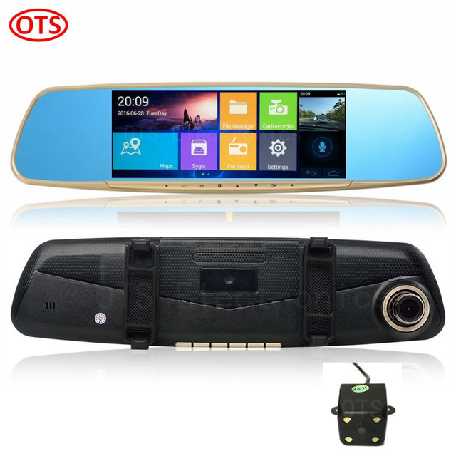 6.86 7 pulgadas GPS Android de Navegación GPS Espejo DVR de Visión Trasera cámara de Doble Cámara de RAM 1 GB DDR3 16 GB Disco FHD 1080 P WiFi Internet