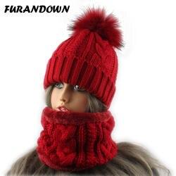 Зимняя флисовая внутри теплая шапка и шарф набор для женщин Мех животных помпоном шапочка толстые вязаная шапка из крученой пряжи комплект