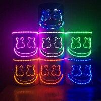 LED Neon Mask Halloween Party marshmello Mask Brithday Gift Festival Adult Luminous Light Glow In Dark Skull Cosplay Costume