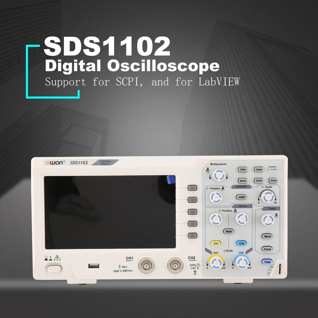 OWON SDS1102 Double canal LCD Super-économique Type De Stockage Numérique Oscilloscope Oscilloscope Portée Compteur 100 mhz 1GSa/s
