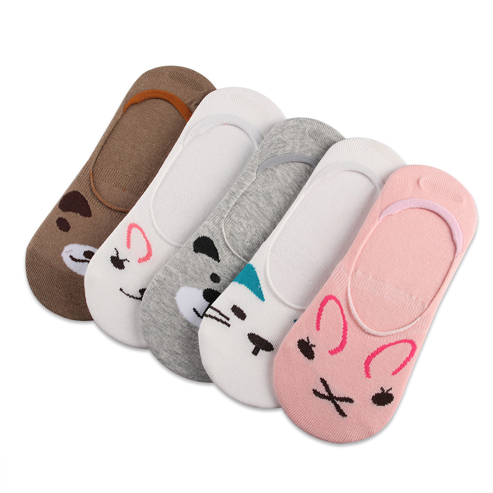 Fashion women invisible cotton socks nonslip loafer liner low cut fashion women invisible cotton socks nonslip loafer liner low cut cartoon animal lady necessity kittyrabbitbear in socks from womens clothing voltagebd Images