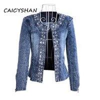 New Spring Autumn Women Jackets Plus Size Fashion Casual Solid Retro Diamonds Jeans Jacket Coat For Women Large Denim Outerwear