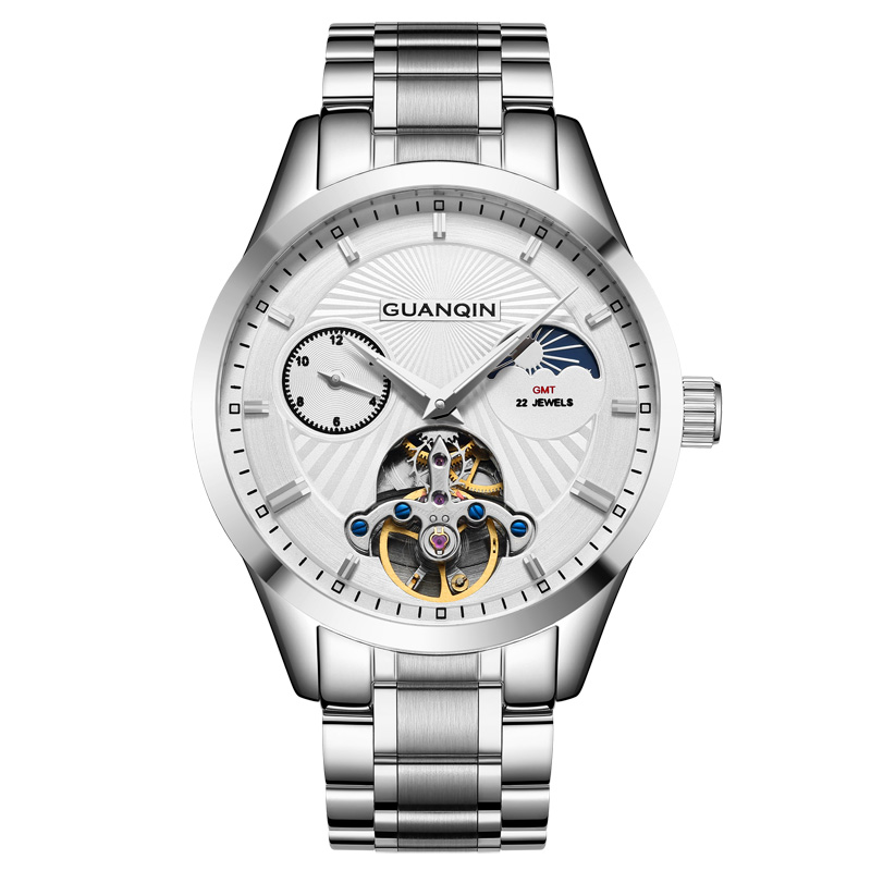 GUANQIN GJ16105 watches men luxury brand Tourbillon Moon Phase relogios masculino Skeleton Male Automatic Mechanical Watch relogios masculino new guanqin luxury brand tourbillon skeleton male watches men sport leather strap automatic mechanical watch