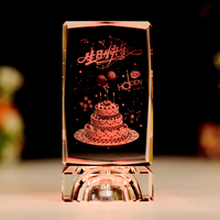 5x5x8cm Cube 3D Laser Engraved K9 Crystal Cake Image Crafts LED Light Changing Happy Birthday For