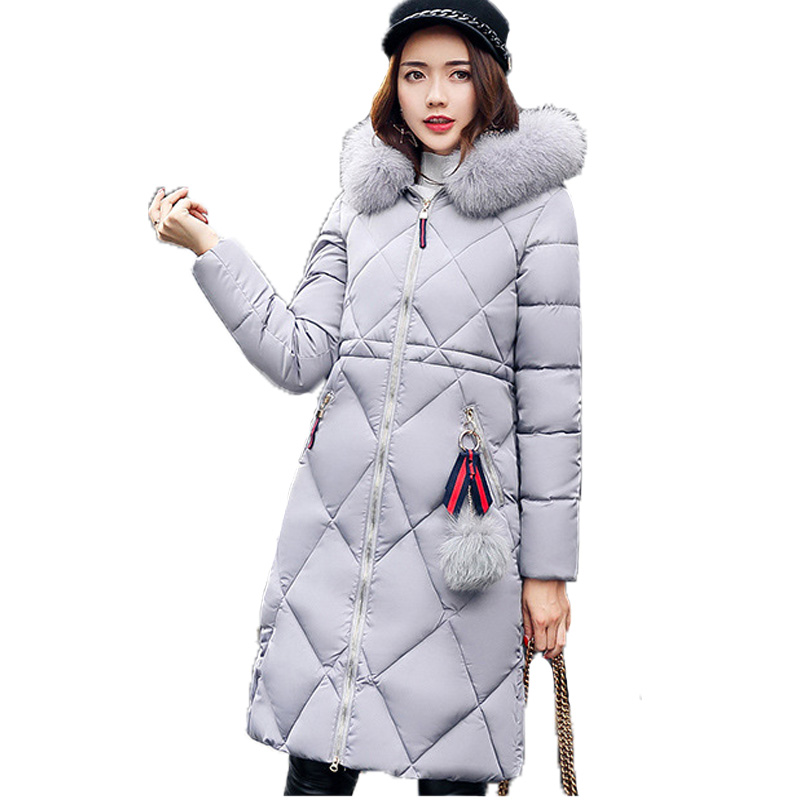 New Women Medium Long Thick Winter Parka 2017 Casual Long Sleeve Hooded Faux Fur Collar Jacket Plus Size Coats Casacos Femininos