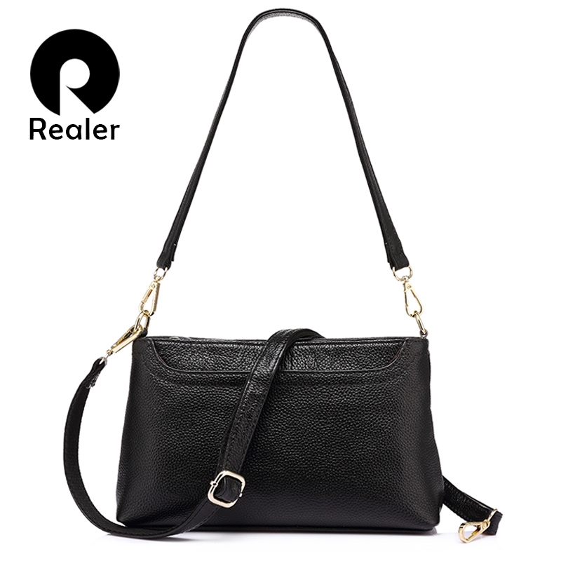 REALER brand fashion women genuine leather messenger bags ladies shoulder bag female crossbody bags Vintage flap bag handbags caerlif brand genuine leather bag colorful stripe weave vintage national wind shoulder bags female bag women messenger bags