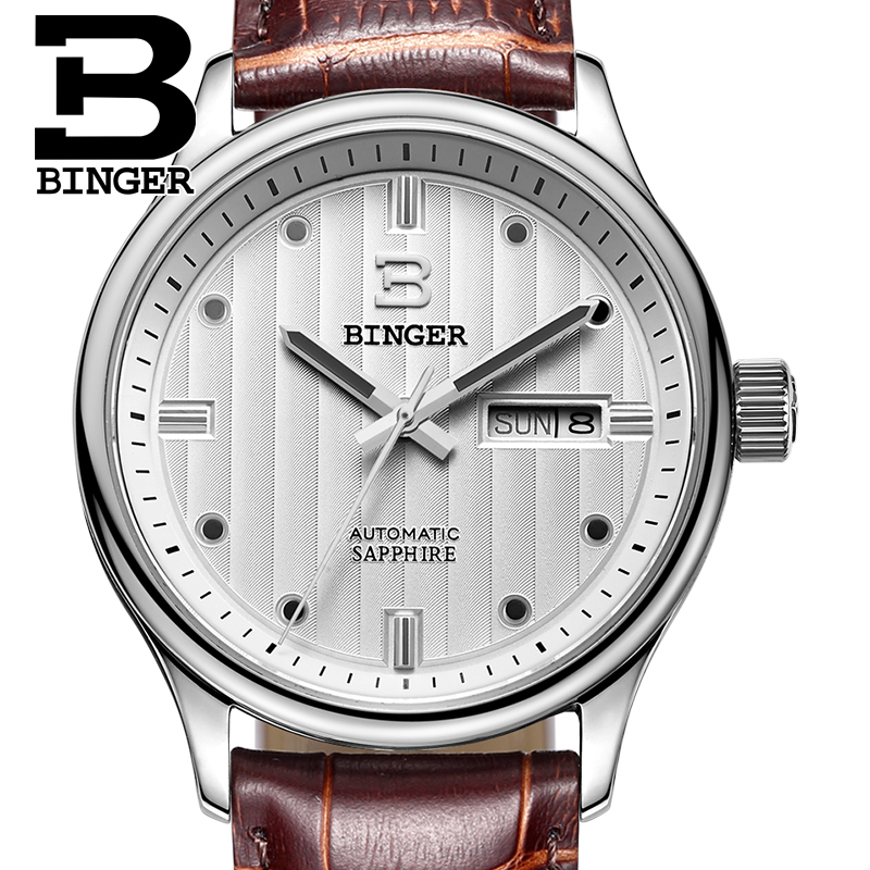Switzerland watches men luxury brand Wristwatches BINGER business Automatic self-wind leather strap Water Resistance B5006-4 jam tangan pria gold original