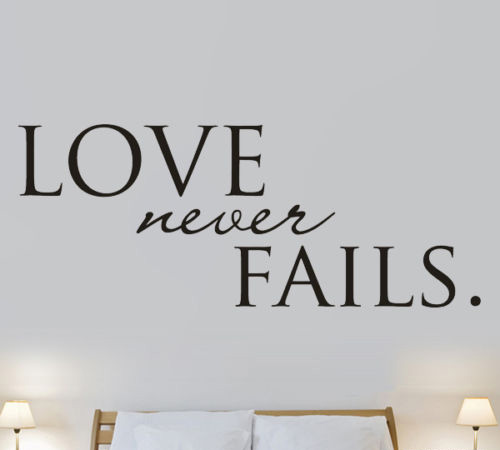 Aliexpress.com : Buy Love Never Fails Bedroom Quote Wall Art Stickers  Decals Vinyl Decor Room Home From Reliable Decoration Room Suppliers On  Chinese ...