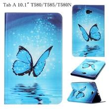 T580 flip case cubierta de soporte de la tableta para samsung galaxy tab a A6 10.1 T580N SM-T585 Moda PU Cubierta Elegante de Cuero con la Tarjeta ranuras