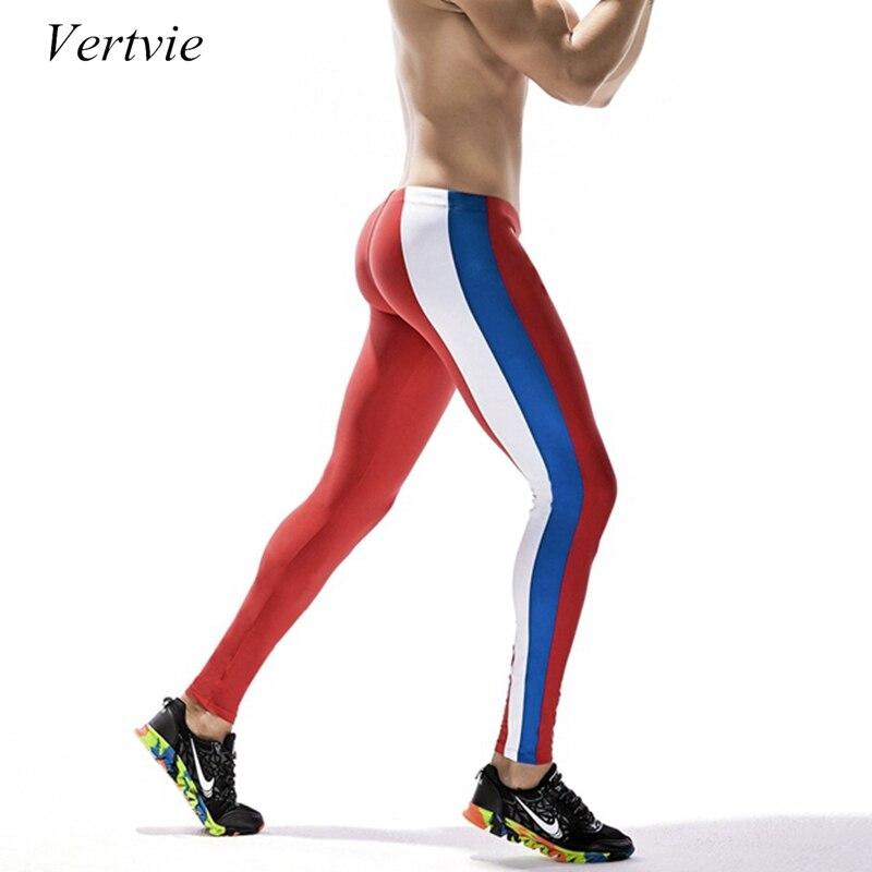 Vertvie бренд Колготки Для мужчин пикантные Лоскутные дышащая быстросохнущая Pro сжатия Мужской Мотобрюки тренажерный зал Фитнес Спортивные леггинсы