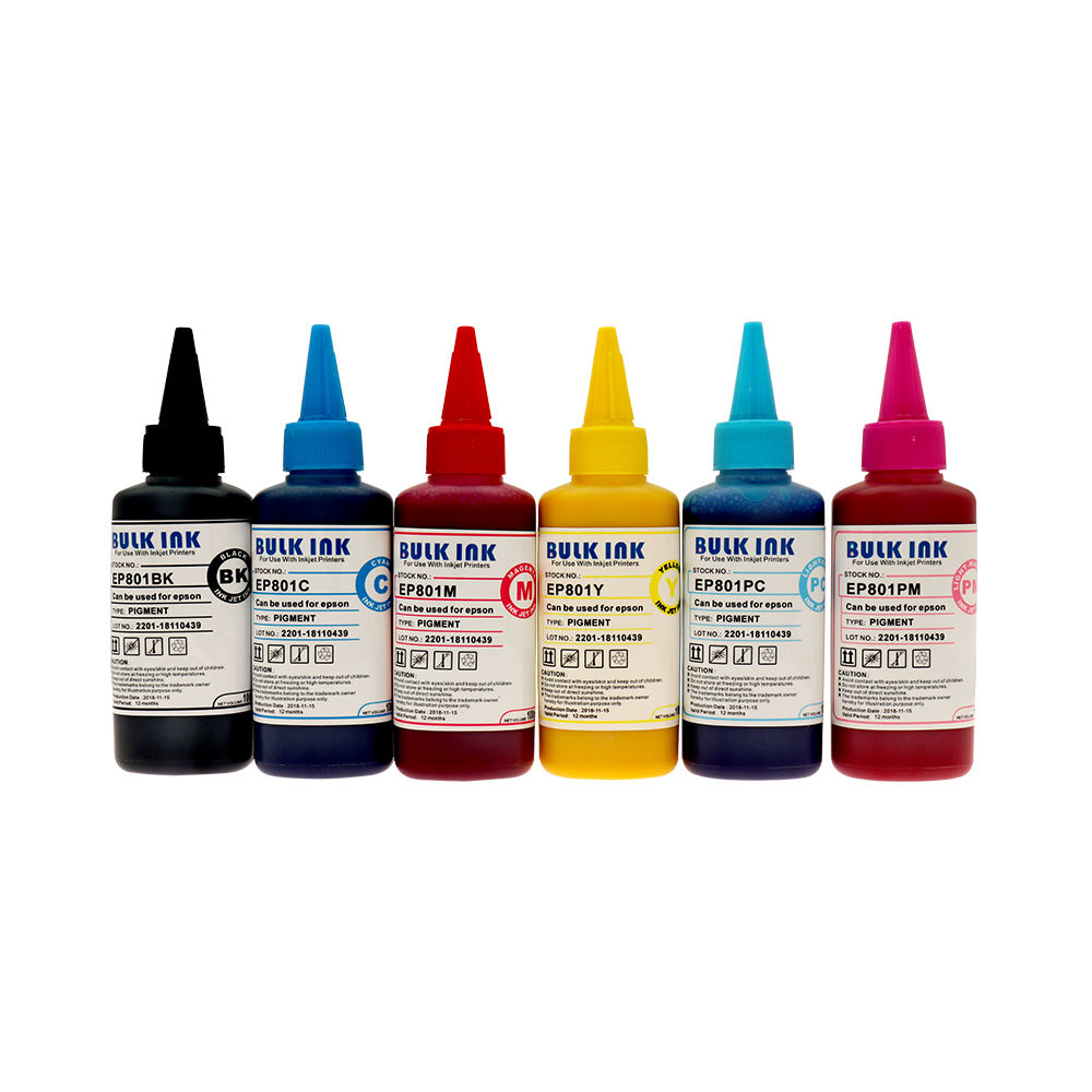 6*100ml Pigment <font><b>Ink</b></font> Compatible For <font><b>Epson</b></font> T50 1410 R390 RX590 <font><b>R270</b></font> RX690 RX610 RX615 R290 R29 All Inkjet Printer image