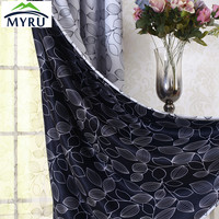 MYRU The new Korean fresh black flowers shading curtain double side cloth curtains for bedroom and living room