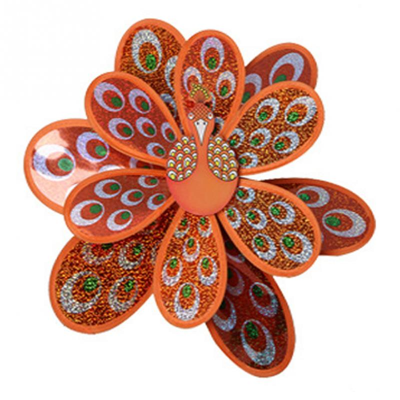 Outdoor Toy Double Layer Peacock  Sequins Windmill Colorful Wind Spinner House Garden Decor Yard Kids Toys 1