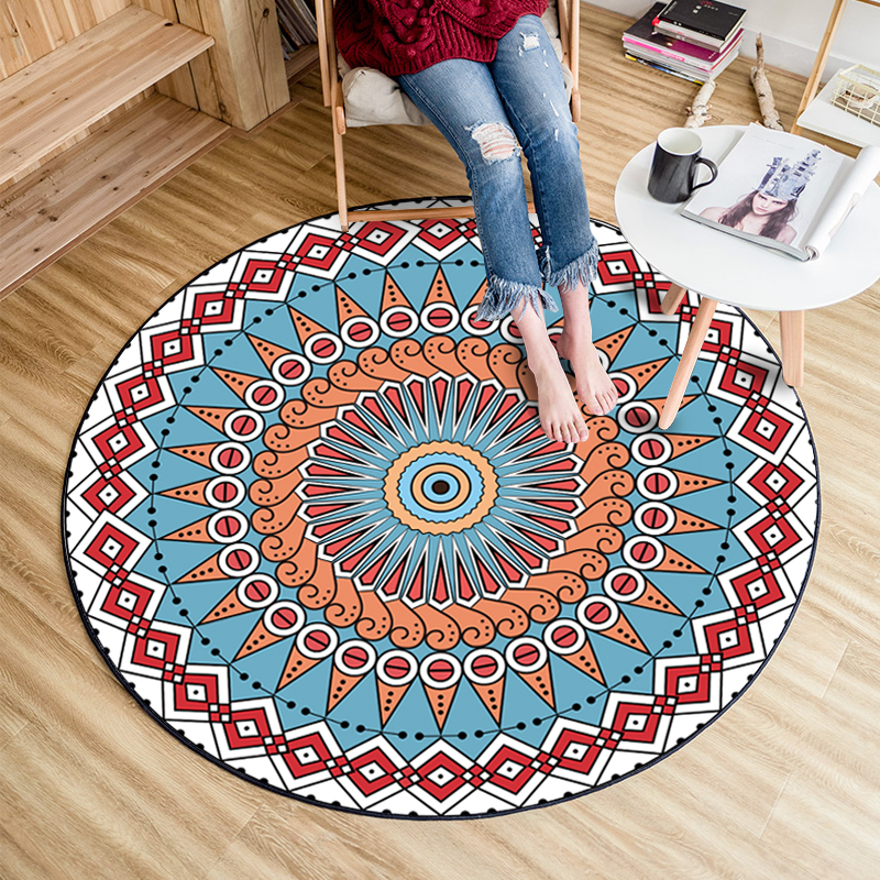 Fashion Round Ethnic Medellaion Red Blue Decorative Carpet Door Foot Mat Chair Baby Play Crawl Pad Parlor Living Room Area Rug in Carpet from Home Garden