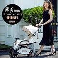 Aulon narra luz carrinho de bebê dobrável portátil bebê verão 4 couro bolso guarda-chuva carro 4runner
