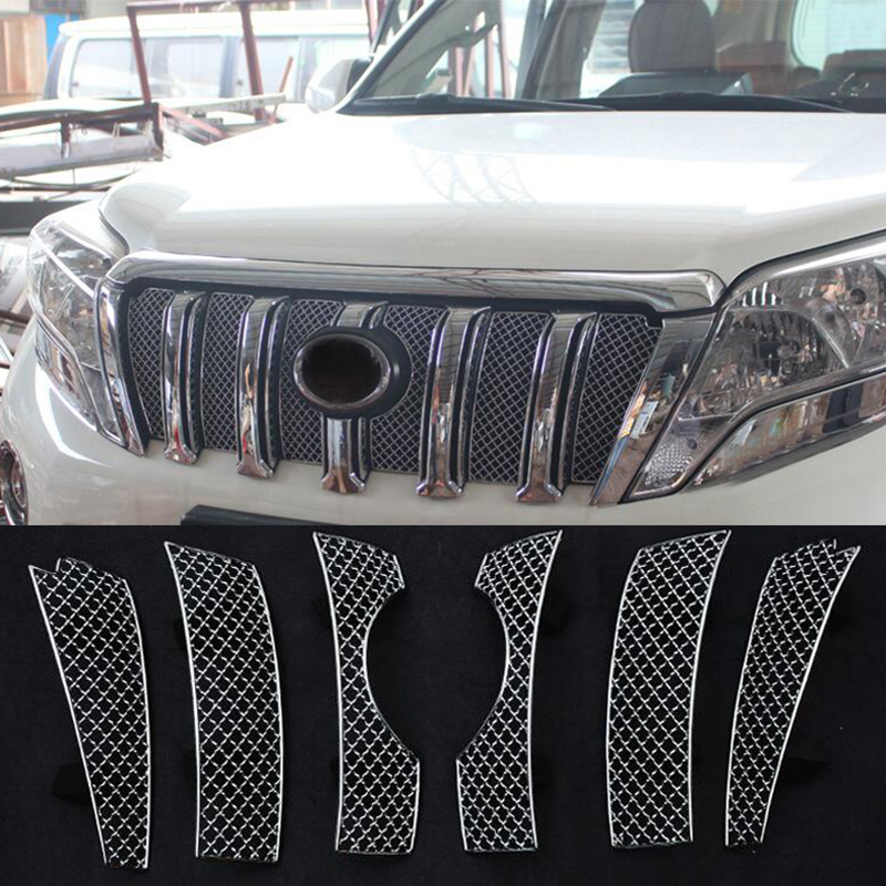 For Toyota Land Cruiser Prado FJ150 2014 - 2017 Exterior Front Grille Grill Net Molding Cover Trim Insect Screening Mesh 6 pcs
