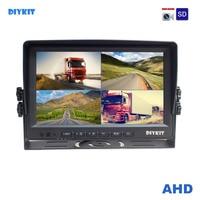 DIYKIT AHD 4PIN 9 дюймов 4 разделение Quad ЖК дисплей экран заднего вида Мониторы поддержка 4x1080 P AHD камера с SD карты видео запись