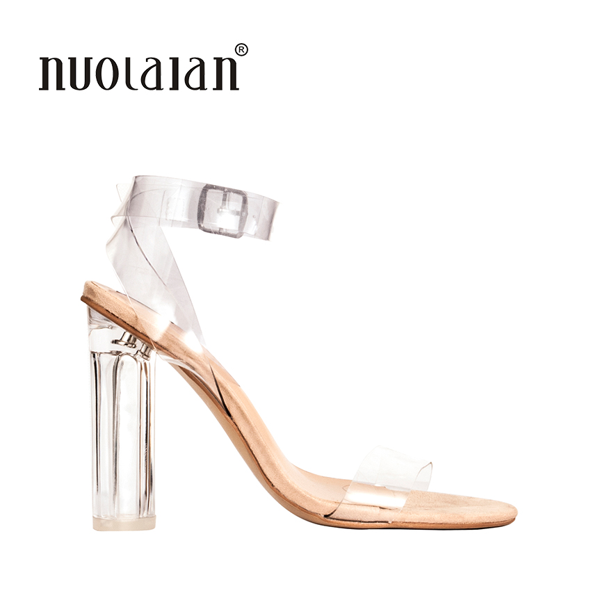 US $19.5 75% OFF|2018 Newest Women Pumps Shoes Celebrity Wearing Simple Style PVC Clear Transparent Strappy Buckle Sandals High Heels Shoes Woman in