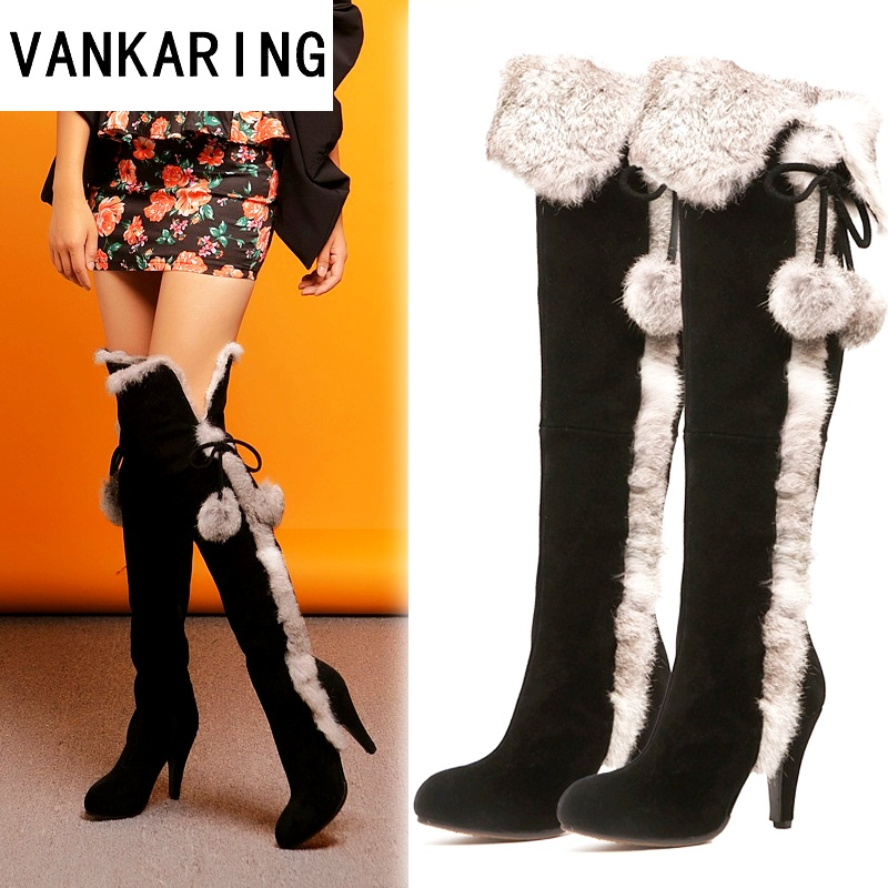 VANKARING women winter snow boots thin high heels warm suede leather fur long plush black shoes woman over the knee high boots цена 2017