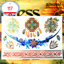 SHNAPIGN 24 Style Temporary Tattoo Body Art, Gold Dreamcatcher Designs, Flash Tattoo Sticker Keep 3-5 Days Waterproof 21x15cm