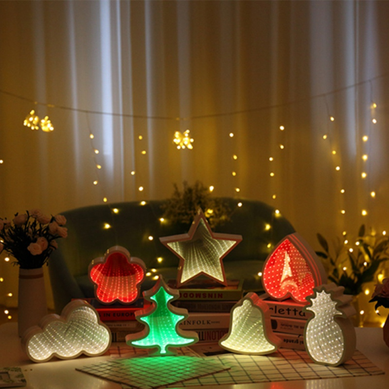 2018 New Home Bedroom Lights Birthday Party Lighting Festival Lights Ins Mirror Tunnel Light Pineapple Bell Cloud