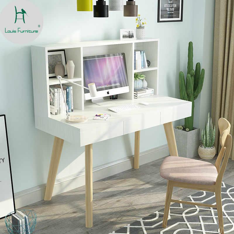 Louis Fashion Computer Desks Type Solid Wood Bookshelf ...