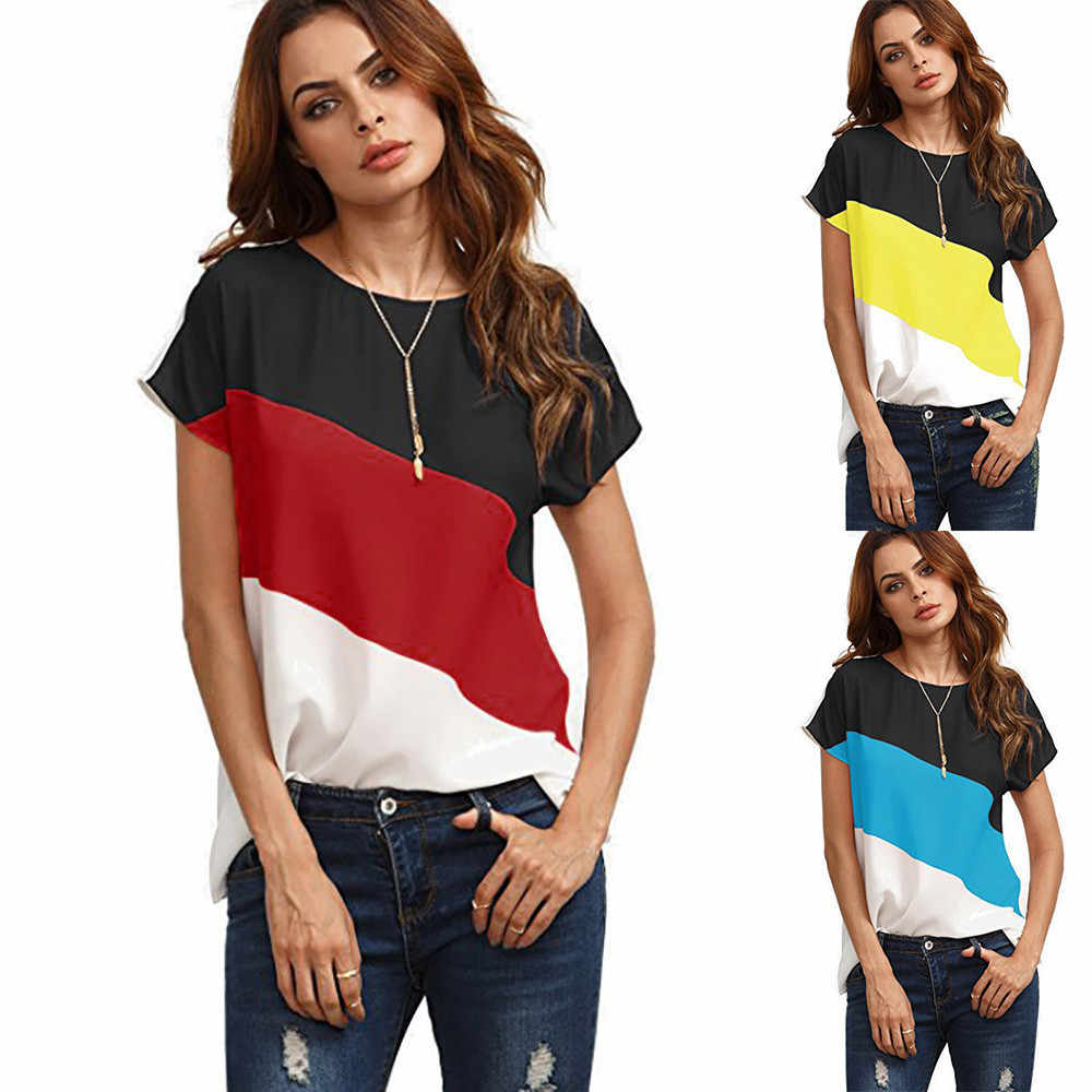 15Women's Color Block Chiffon Short Sleeve Casual Candy colors Round neck Shirts Tunic Tops roupas femininas#15