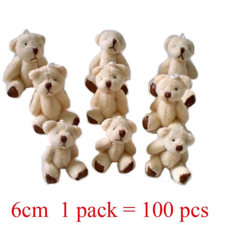 1 lot 1pack 100pcs 6cm Mini Joint Bear Plush toys Wedding gifts Kids Cartoon toys Christmas