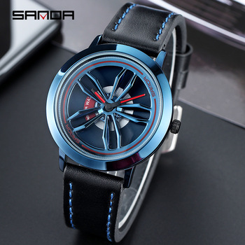 SANDA Men's Rotating Wheel Dial Fashion Quartz Watches 5