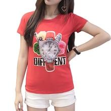 Women's T Shirt Watch Print T-Shirt for Women Casual Short Sleeve Cotton Crop Tops Summer Tee Shirt Femme O-neck Bottomed Shirt