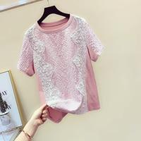 2019 Summer New Beaded Wavy Lace Shirt Women Short Sleeve T shirt Girls Students Pink T Shirt Tees Tops