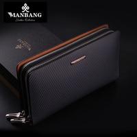 Long Mens Clutch Men Genuine Leather Clutch Bags Solid Zipper Designer Male Long Wallets Luxury Black Fashion Purse MBS8390