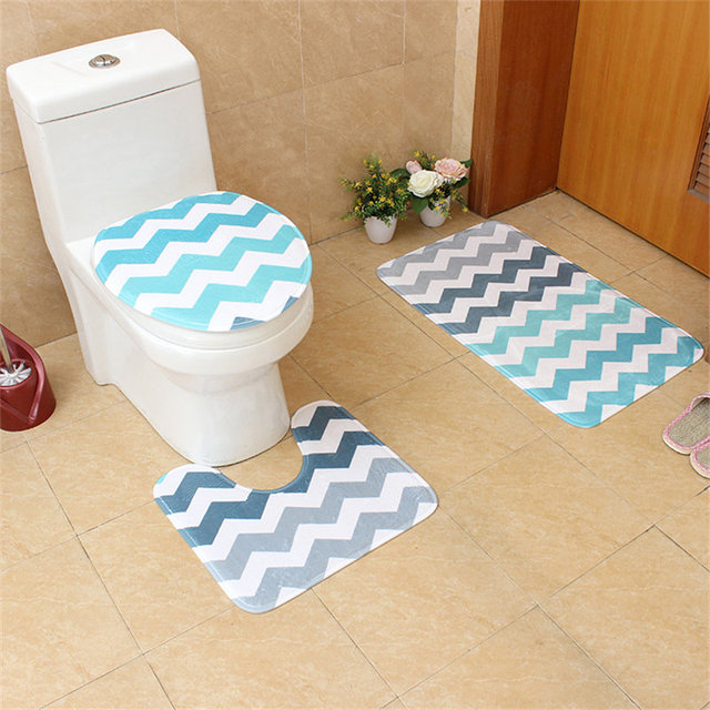 3Pcs Stylish Ripple Bathroom Mats High Definition Flannel Printing ...