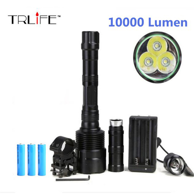 10000 Lumens 3xT6 LED Hunting Flashlight 5 Modes Torch Light Gun Mount + Remote Pressure Switch + 3pcs 18650 Battery for Hiking anjoet led hunting flashlight 6000 lumens 3 x xml t6 5mode 3t6 torch light suit gun mount remote pressure switch charger