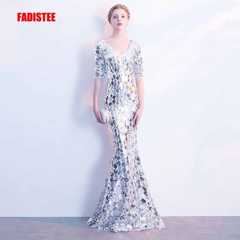 FADISTEE Nieuwe collectie sexy party avondjurken Vestido de Festa A-lijn prom dress Robe De Soiree half mouwen sequin lace