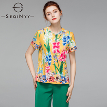 SEQINYY Tee Shirt Femme Hyacinth Printed 2019 Summer New Fashion Design High Quality Luxury Bead 3D Flowers Cotton Yellow Top