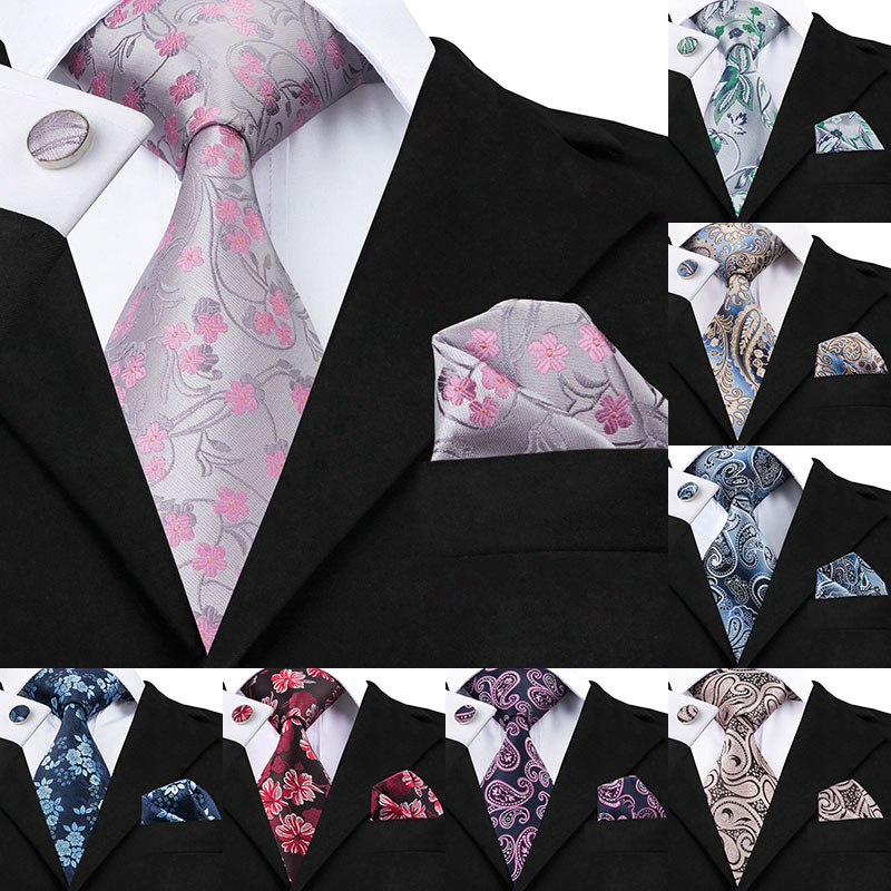 2018 Fashion Gray Pink Floral 8.5cm Width Tie Hanky Cufflinks Sets Men's Silk Ties For Men Formal Wedding Party C-1049