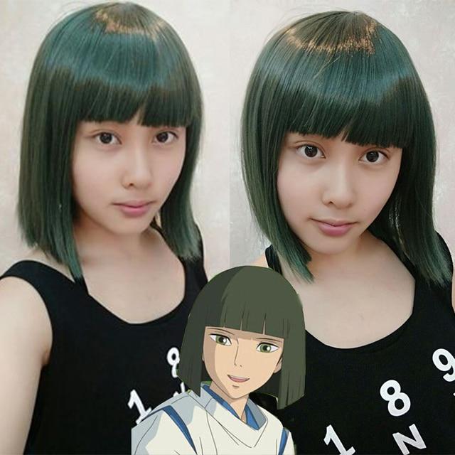 Anime Spirited Away Haku Nigihayami Kohakunushi Green Middle Length Heat Resistant Synthetic Hair Wigs
