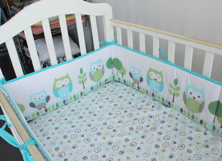 5pcs Embroidery Baby Bedding Set Cotton Baby Cot Set Newborns Crib Bedding Set Baby Cot Safe Bumpers,include (4bumper+bed cover)