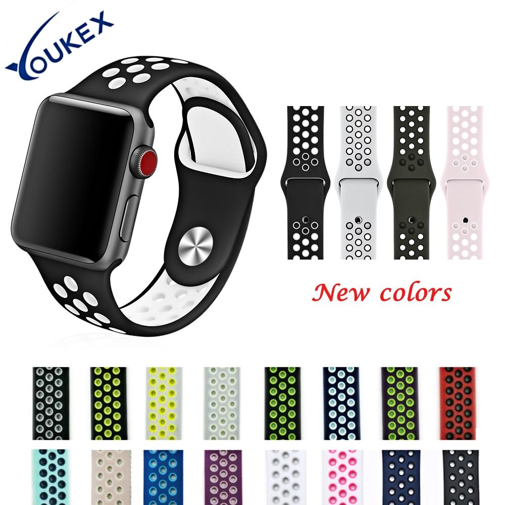 YOUKEX Fluoreszenz Silikon Sport Band für Apple Uhr 38mm 42mm Mode Poröse Doppel Farbe Armband Handgelenk Band für iWatch
