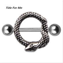 1 piece punk animal stainless steel snake nipple piercing rings women punk nipple piercing bar stud women body piercing jewelry