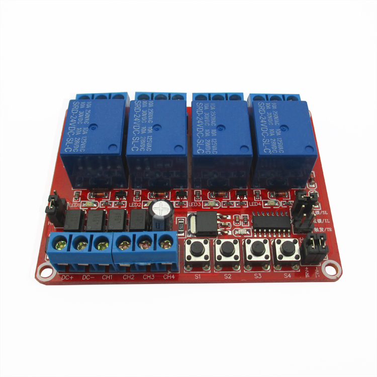 4 - way self - lock interlock trigger - select one to support the high and low level trigger relay module 24V DC24V three цена и фото