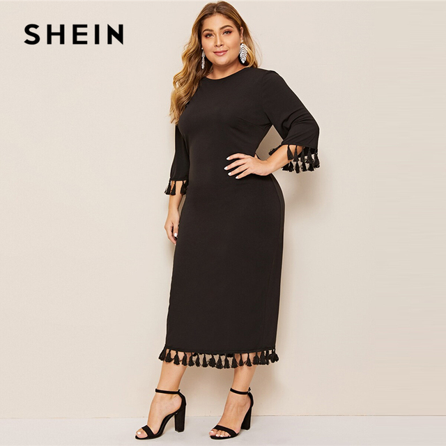 SHEIN Women Plus Size Scarf Print Buttoned Cuff Black Long Dress 2019 Ladies Spring Half Sleeve Solid Casual Dresses 2