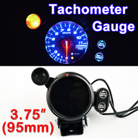 3.75 95mm Tachometer Gauge 3 3/4 Inch Car Tacho Meter Blue LED with Shift Light RPM Auto Gauges 12V Black Shell FREE SHIPPING